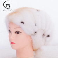 Winter Hat Real Mink Fur Hats For Women Fur Cap With Diamond New Fashion Russia Good Quality Elegant Hat Party Hat Young Women