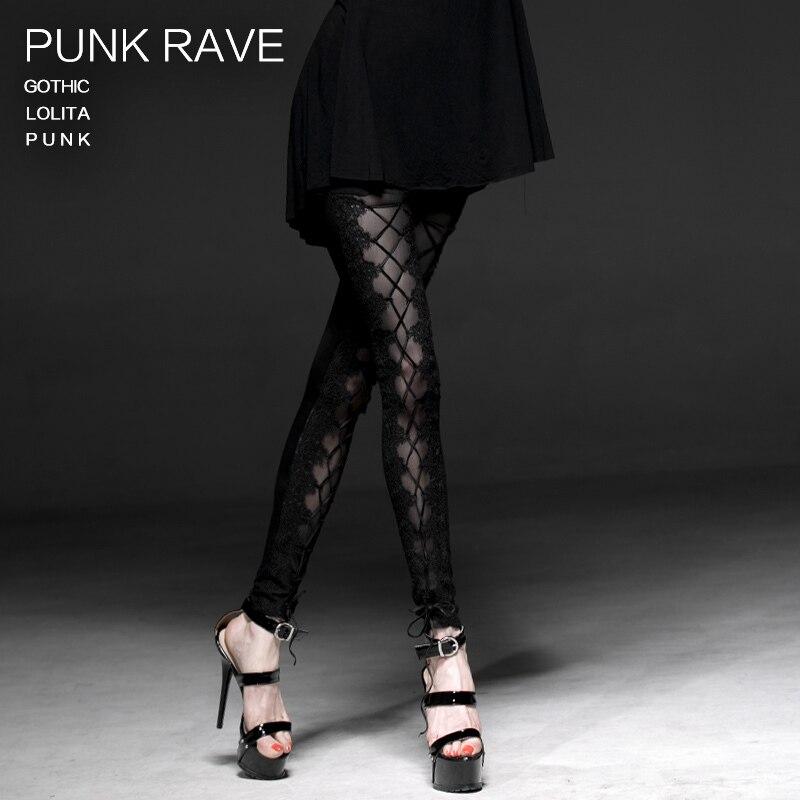 Punk Rave Gothic Lolita Sexy Banaged Women Leggings Pants Fashion Black Street fashion casual clothing K187 2017solid black fashion women pants autumn rocker punk sexy style leggings street metallic femme casual slim pants