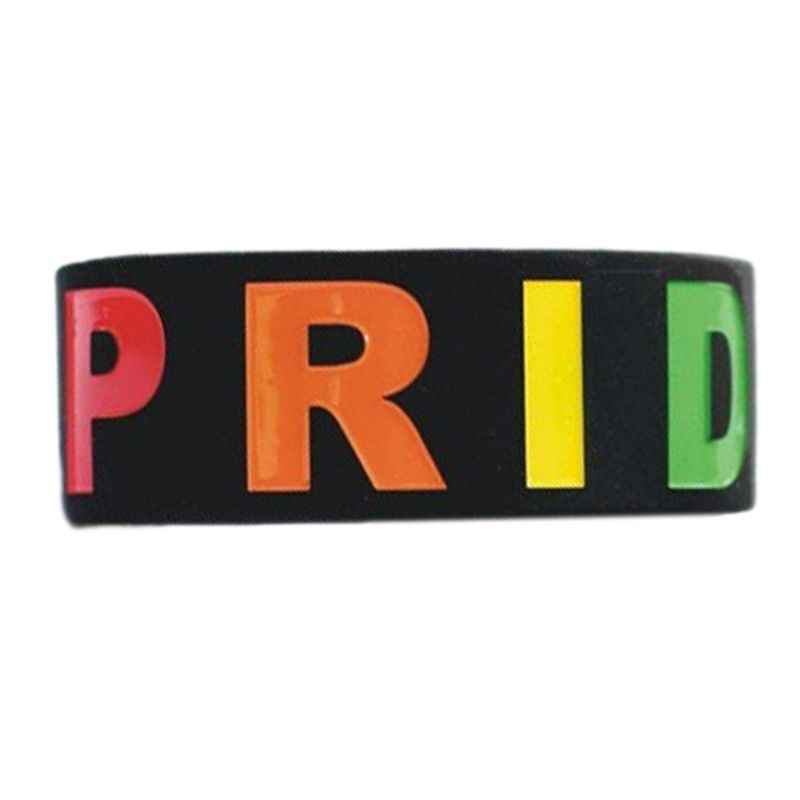 """יוניסקס להט""""ב קשת מכתבי ספורט סיליקון צמיד שש-צבע הומו לסבית הגאווה Wristlet צמיד מסיבת מצעד 18 סוגים"""