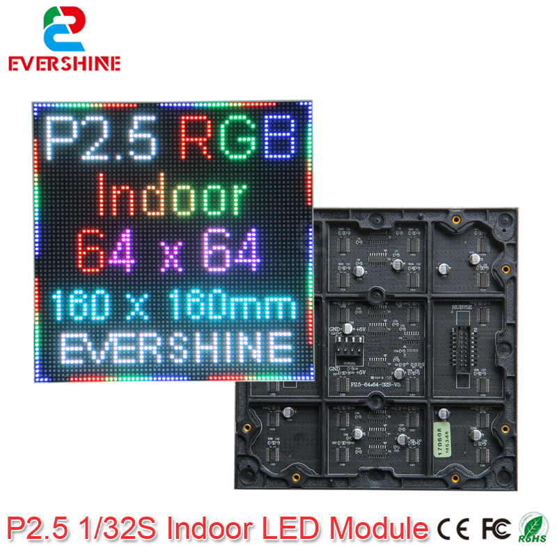 Evercollectvision 64x64 P2.5 Indoor Smd2121 1/32scan Full Color Led Module Panel Display 160x160mm Rgb Led Matrix Wall Screen