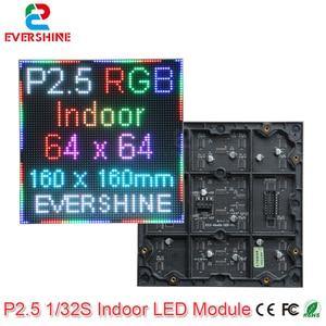 Image 1 - Evercollectvision 64x64 p2.5 실내 smd2121 1/32 스캔 풀 컬러 led 모듈 패널 디스플레이 160x160mm rgb led 매트릭스 벽 스크린
