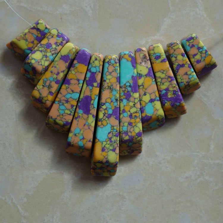 11 Pcs (1 ชุด) Rainbow หินจี้เครื่องประดับสร้อยคอ