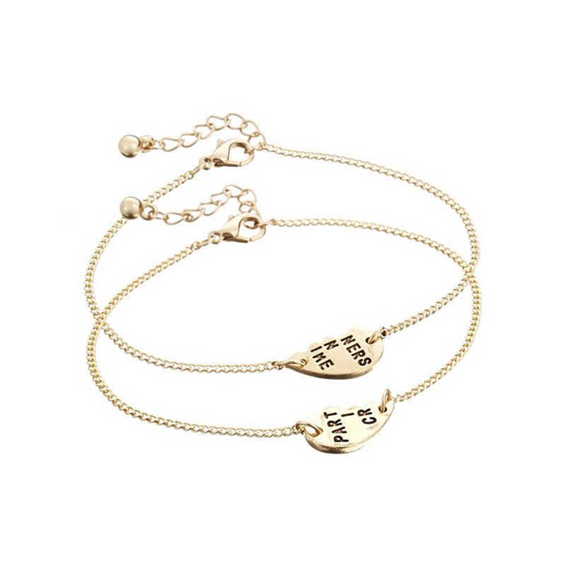 1 par de pulsera dividida de San Valentín de color dorado conjunto de colgante de corazón mejores amigos BFF para siempre socios en Crime 16 + 8 cm