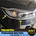 ABS Frente Chrome Farol abaixo Da Sobrancelha Capa Trims Para 2015 KIA Sorento alta qualidade chrome adesivos aparar A & T estilo do carro