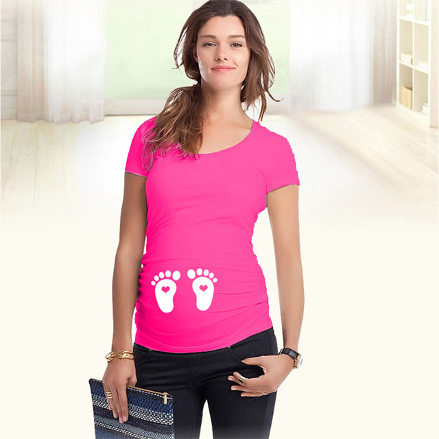 Hot maternity tops funny pregnancy shirts with print footprints S-XXL short sleeve tops for pregnant women cotton summer t-shirt