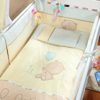 Promotion! Velvet 100% cotton Baby bedding sets crib set 100% cotton quilt,(bumper+sheet+pillow+duvet) 2 size