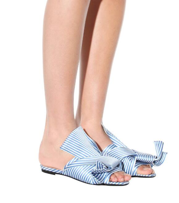 2018 Summer Newest Ladies Big Bow Flat Sandals Peep Toe Blue White Stripe Women Satin Slides Female Slip On Fashion Sandals in Women 39 s Sandals from Shoes