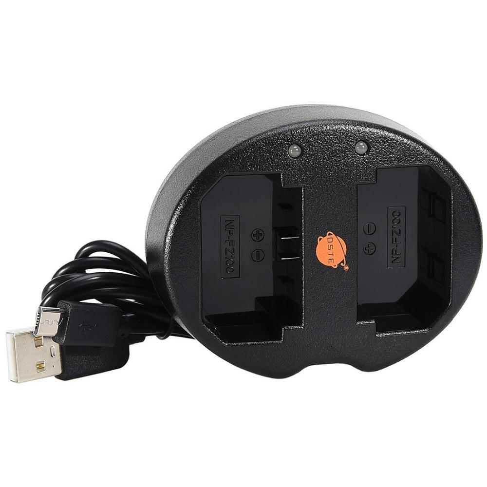 Dste NP-FZ100 dual USB Cable cargador para Sony NP-FZ100 BC-QZ1 Alpha 9 serie cámara digital
