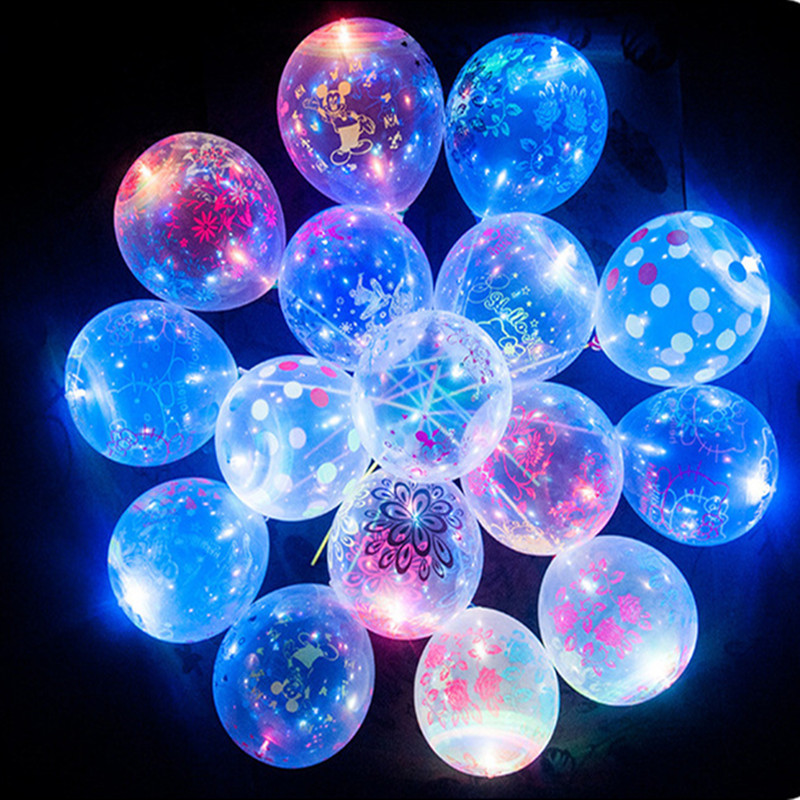 10Pcs LED Colorful Flashing Luminous Balloons Wedding Wedding Party Decorations Holiday Supplies Color Glowing Balloons