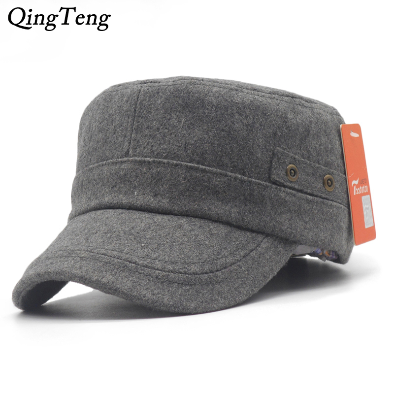 c71c0148 Winter Rivets Wool Felt Army Style Cap Men Plain Black Flat Strap Back Hat  Mens Adjustable