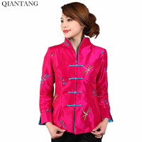 New Arrival Spring Female Satin Embroidery Jacket Gray Lady Long Sleeves Coat Mujer Chaqueta Size S