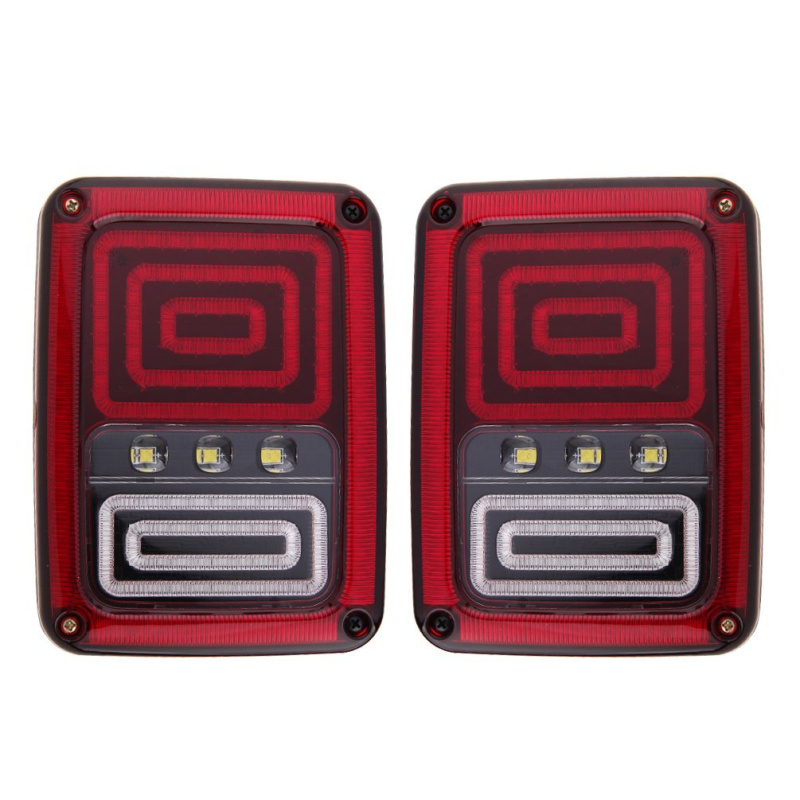 2007 2018 Jeep Wrangler JK JKU Tail Lights Brake Lights LED Smoke Lens with Turn Signal Lights, Avenger Style Pair