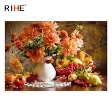 цены RIHE Flower Fruit DIY Oil Painting By Numbers Home Decor Canvas Painting Modern Wall Art for living room