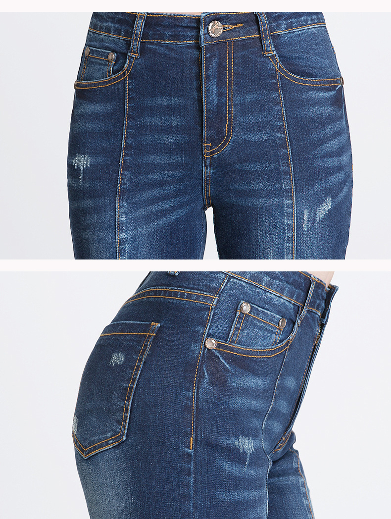 KSTUN FERZIGE Jeans Women Dark Blue Boot Cut Embroidered Hollow Out Flared Pants High Waist Stretch Long Trousers Mom Jeans Push Up 36 19