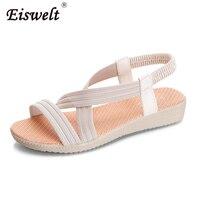 EISWELT 2017 Fashion Women Comfort Sandals Summer Flip Flops Large Size Flat Sandals Elastic Gladiator Mujer
