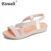 EISWELT 2017 Fashion Women Comfort Sandals Summer Flip Flops Large Size Flat Sandals Elastic Gladiator Mujer