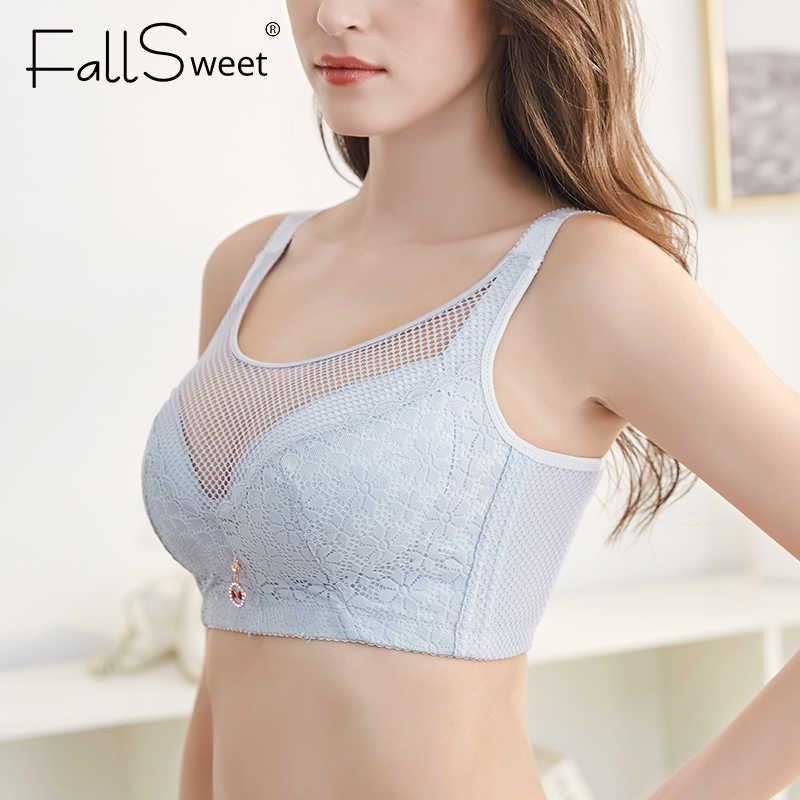 FallSweet ตาข่าย Bra ไร้สาย Brassiere Full Coverage Bras สำหรับผู้หญิง PLUS ขนาด Minimizer ชุดชั้นใน