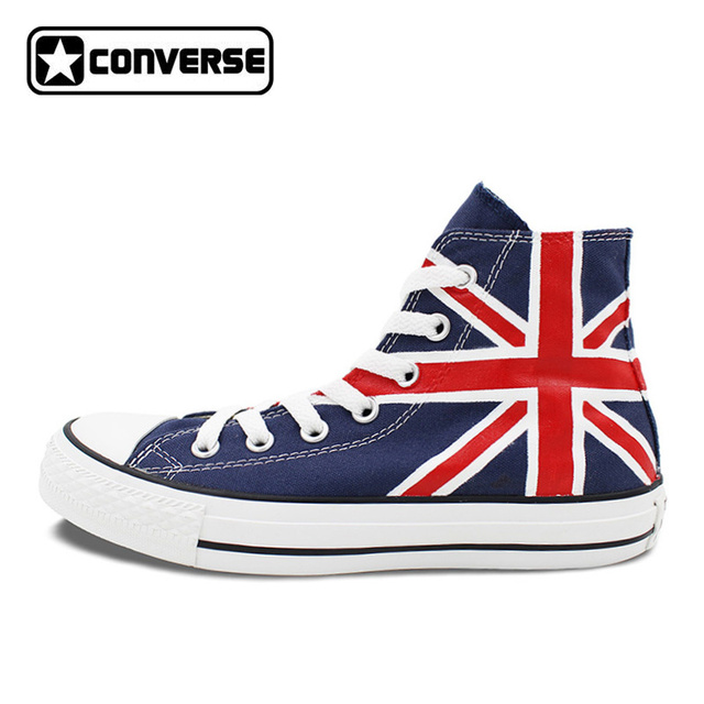Union Jack Uk Flag Original Design Converse All Star Hand Painted Shoes Woman Man Blue Sneakers