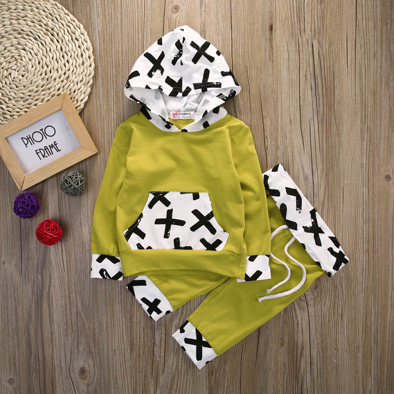 2PCS Set Baby Boys Toddler Clothes Warm Hooded font b Tops b font Coat Pants Outfits
