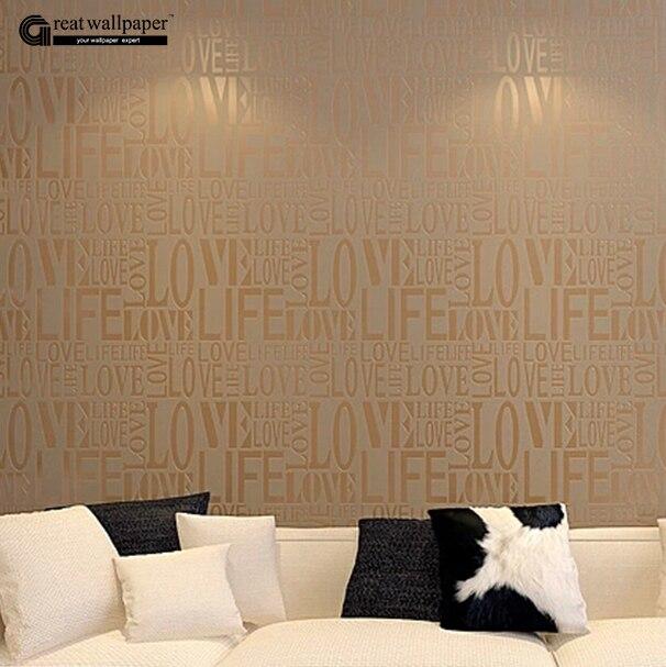 Brown gray pink beige white flock words textured - Papel tapiz para pared ...