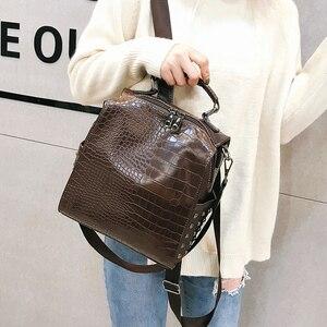 Image 1 - Fashion Women Leather Backpacks New Crocodile Pattern Travel BackPack Rivet Shoulder Bag Backpacks for Girls School Bag Backpack