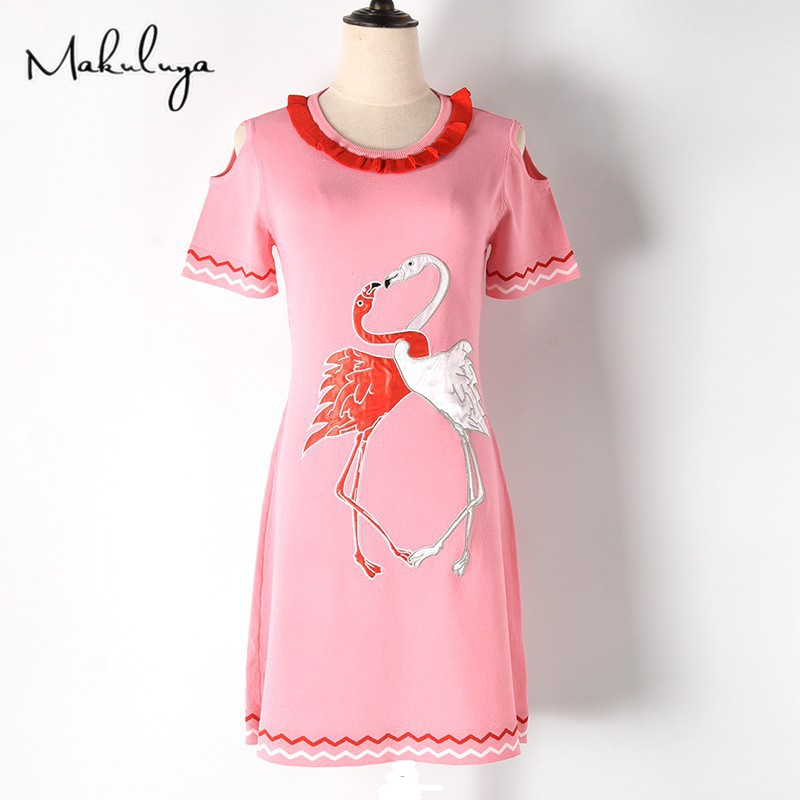Makuluya Women Vintage Elegant Flamingo Embroidery Strapless Short Sleeve Knitted Dresses Summer Spring Autumn QW