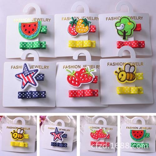 2 PCS Embroidery Bees Strawberries BB Clip Girls Hair Accessories Hairpins Children Headwear Baby Hair Clips Headdress