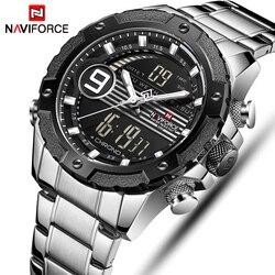 NAVIFORCE mężczyźni Top luksusowej marki sportowe zegarki męskie kwarcowy zegar mężczyzna ze stali nierdzewnej Casual wojskowy zegarek na rękę Relogio Masculino