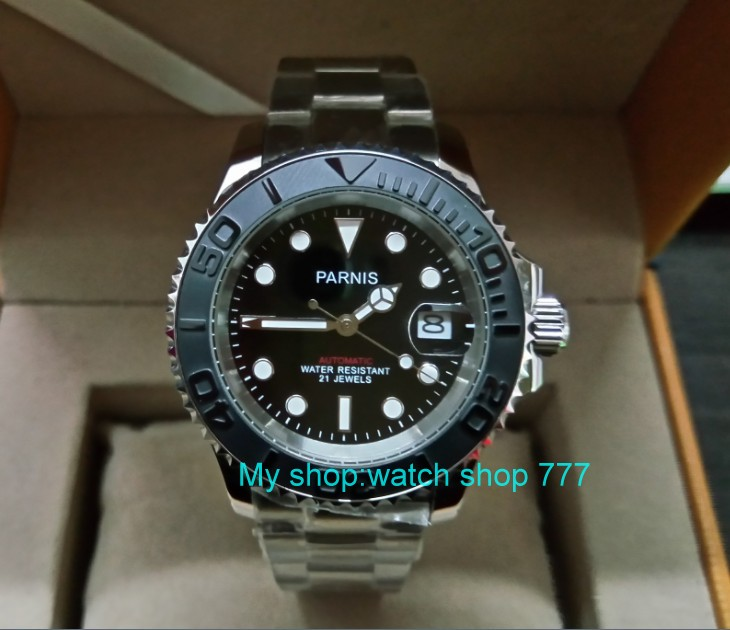 41MM PARNIS Japanese Automatic Self-Wind movement Ceramic bezel Sapphire Crystal luminous Stainless steel case mens watch G6241MM PARNIS Japanese Automatic Self-Wind movement Ceramic bezel Sapphire Crystal luminous Stainless steel case mens watch G62