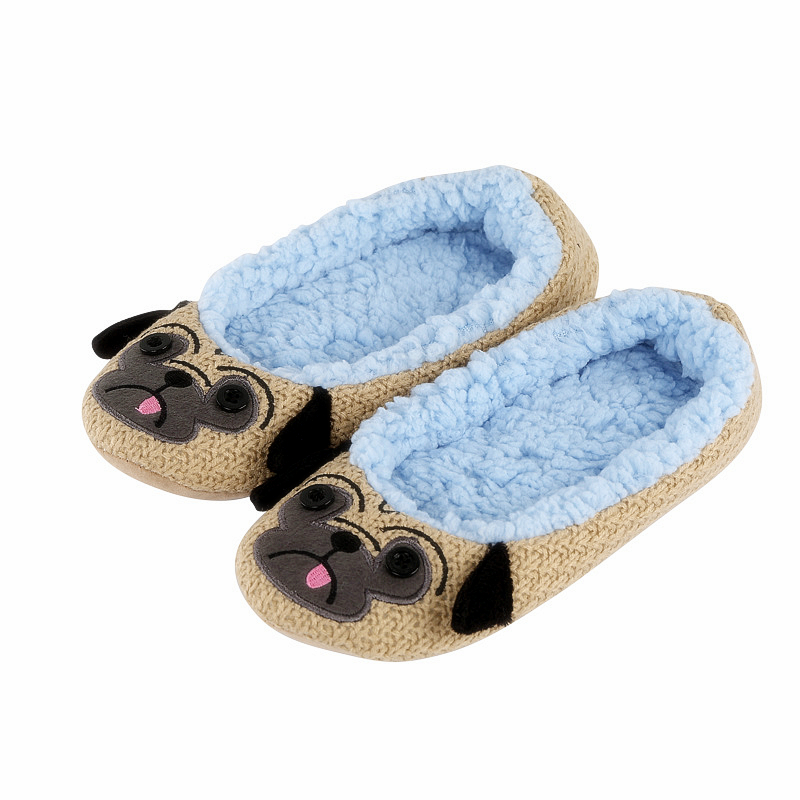 Ladies Indoor Floor Plush Slippers Home Cotton Animals Embroider Yoga Dance Shoes Pugs&Squirrel&Panda&owl&Mouse Soft Soled Shoes soft house coral plush slippers shoes white