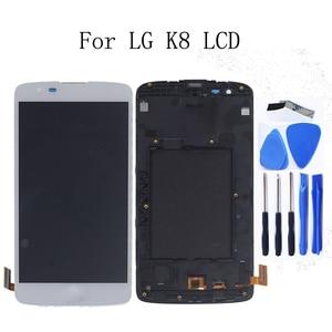 Image 1 - العلامة التجارية الجديدة ل LG K8 LTE K350 K350N K350E K350DS شاشة الكريستال السائل مجموعة المحولات الرقمية لشاشة تعمل بلمس استبدال مع الإطار طقم تصليح