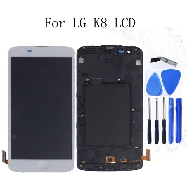 العلامة التجارية الجديدة ل LG K8 LTE K350 K350N K350E K350DS شاشة الكريستال السائل مجموعة المحولات الرقمية لشاشة تعمل بلمس استبدال مع الإطار طقم تصليح