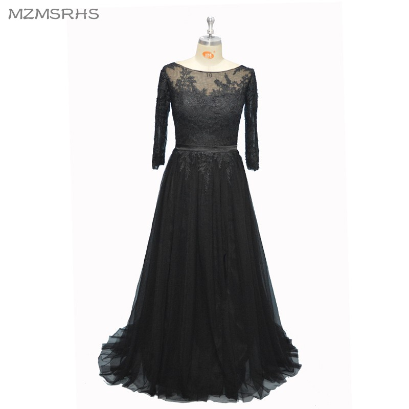 Robe De Soiree Long Evening Dresses Real Sample Black Tulle A Line Applique Half Sleeve Custom Made Formal Evening Party Gown