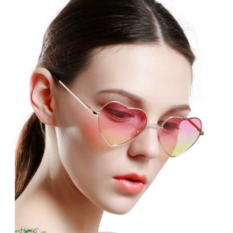 Sluneční brýle ve tvaru srdce ŽENY kov Reflexní LENES Módní slunce SKLO MUŽI Zrcadlo oculos de sol Značka Design Vintage