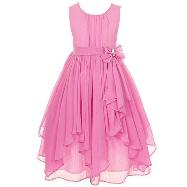 Vestido de la muchacha para La Boda Irregular Volantes Princesa del Partido del Verano Vestidos de Gasa de La Ropa de Los Niños Embroma la ropa