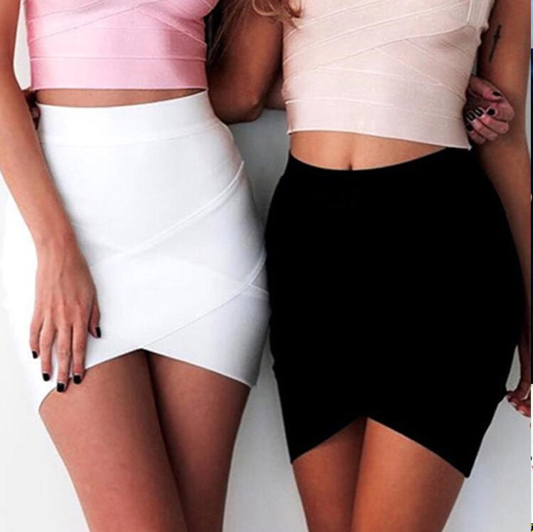 Ladies High Quality Rayon Black Thick Rayon Pencil Bandage Skirt Cute Mini Skirt