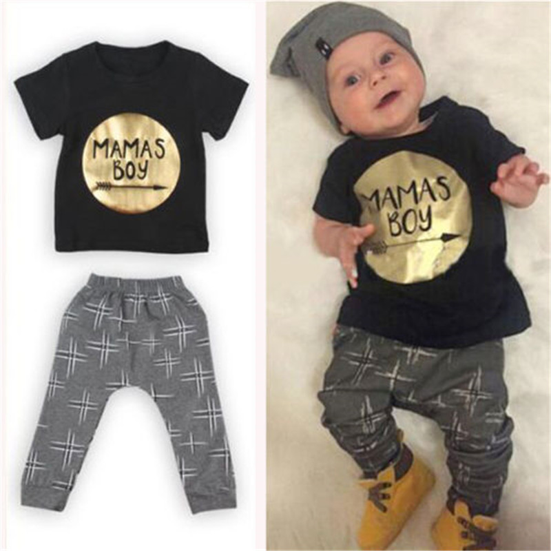 2PCS Children Outfit Sets Baby Boy MaMas Boy Printing Short Sleeve Tops Golden T Shirt + Pants Suit Hot Selling Summer Clothes baby boy tops t shirt denim jeans pants 2pcs 2017 new bebes summer baby boy clothes set casual children outfit kids clothing set