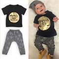 2PCS Children Outfit Sets Baby Boy MaMas Boy Printing Short Sleeve Tops Golden T Shirt +  Pants Suit Hot Selling Summer Clothes