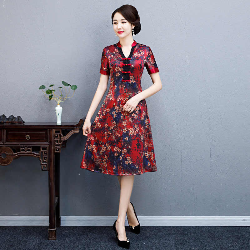 2019 Summer New Blue Rayon Satin Cheongsam Elegant Women' s Vietnam Ao Dai Dress Short Sleeve Sexy Print Short Dress M-4XL