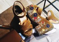 MIQUINHA Summer Hot Brown Suede Leather Women High Platform Sandals Mixed Colors Embroidery Ladies Wedge Heel