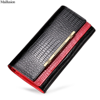 Maillusion Geniuen Leather Wallets Women Alligator Long Clutch Wallets Designer Diamond Coin Purses Ladies Crocodile Card