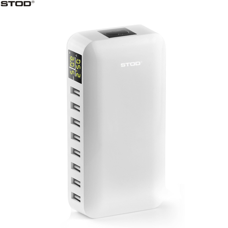 BOTD 8 Port USB Charger 40W LCD Display Voltage Monitor Smart Charging For iPhone iPad Samsung Huawei Nexus HTC AC To DC Adapter