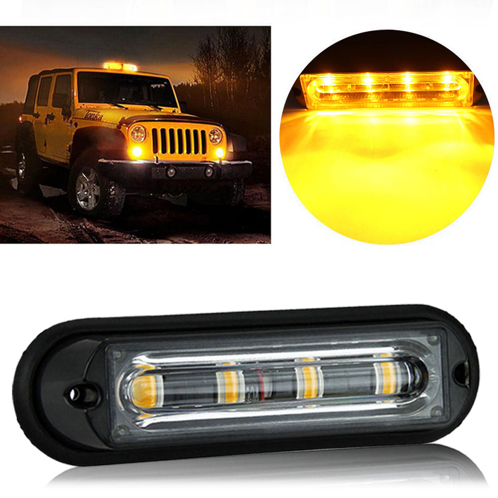 Castaleca Vehicle Flashing Light Car Truck Emergency 4LED Strobe Flash Fog Lamp Grille Marker Traffic Beacon DRL Signal Lights in Car Light Assembly from Automobiles Motorcycles
