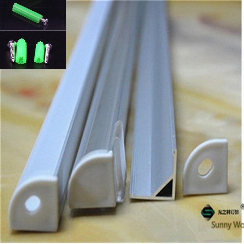 5-30 pcs/lot, profilé d'aluminium led de 40 pouces 1 m pour le panneau de carte PCB de 10mm a mené le canal de coin pour le logement léger de barre de led de bande de 5050