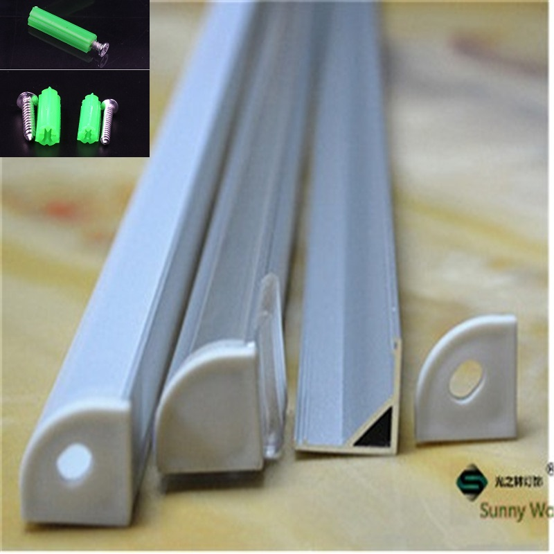 5-30pcs lot 40inch 1m  led aluminium profile for 10mm PCB board led corner channel for 5050 strip led bar light housing