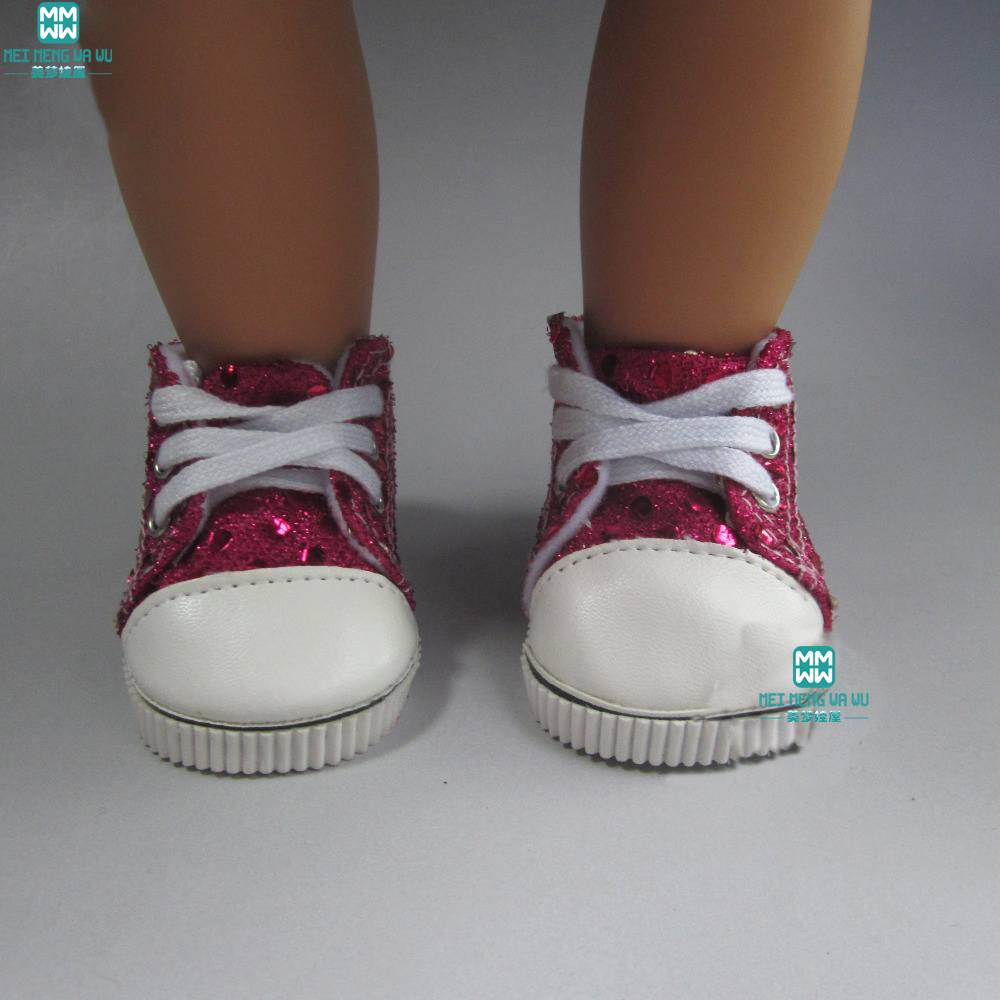 7cm Red canvas sneakers Fit 18 American Girl Dolls sneacker Reborn Baby for Childrens gifts
