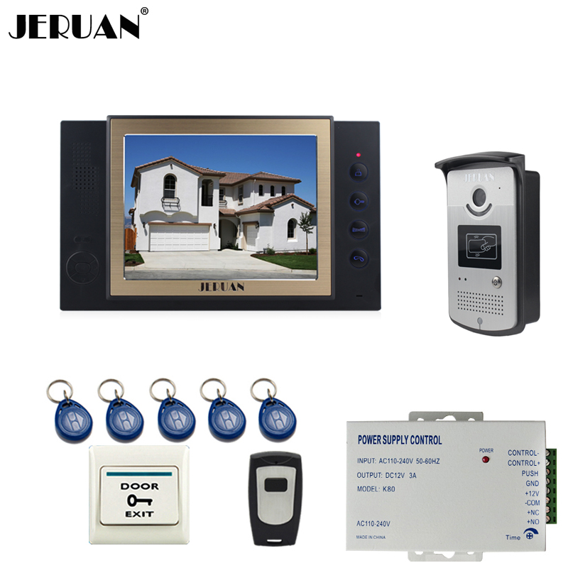 JERUAN 8`` video door phone doorbell intercom system home access control system RFID video recoreding+power support +8GB TF card 8 inch video door phone doorbell intercom system home access control system rfid video recoreding and photo storage and playback