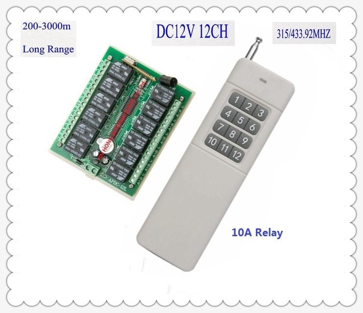купить 3000m Long Range DC12V 12 CH Radio Controller RF Wireless Remote Control Switch 315/433 Transmitter + Receiver Remote RC TX RX по цене 1243.2 рублей