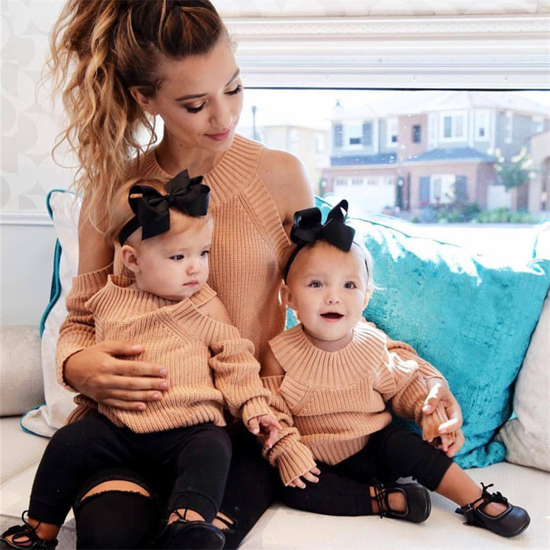 Stylish New Arrivals Family Matching Women Mom Baby Kids Girl Off Shoulder Knit Long Sleeve Pullover Sweater Jumper Knitwear Top