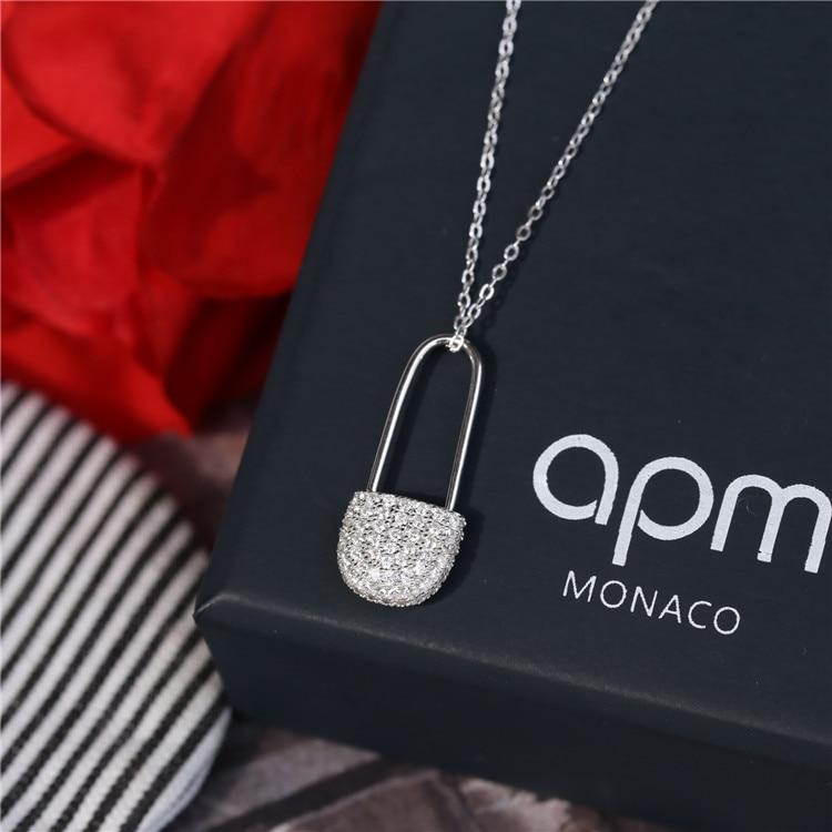 Новый * М Большой бренд 925 щепка Pin подвеска короткие ожерелье Тенденция простой полный камень циркон 925 щепка ожерелье для женщины